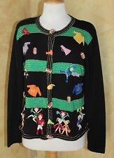 Jack B. -Sz L - Quick Cutest Black Cheerleading Football Decorated Sweater