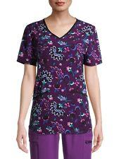Scrubstar Women's New Sz S M L Xl 2Xl 3Xl Nwt Stretch Soft Purple Floral Flowers
