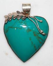 CONTEMPORARY 925 STERLING SILVER & GREEN ENAMEL HEART PENDANT *7.8 GR PT8