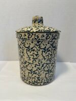 Robinson Ransbottom Ohio 1 qt High Jar Sponge Green Pottery Covered Jar