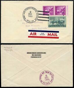 USA APO 153 Kambodscha 1960 Air Force Postal Service Luftpost-Brief England / 35