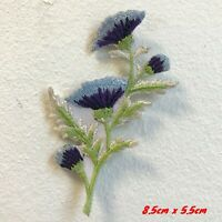 Beautiful Lavender Thistle Flower Iron on Sew on Embroidered Patch #1711