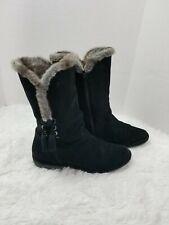 Stuart Weitzman Women's Boots Size 8.5M Black Suede Side Zip Faux Fur Collar