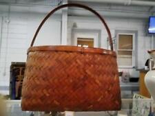 Vintage Split Oak Basket W/ Herringbone Weave Lot 150