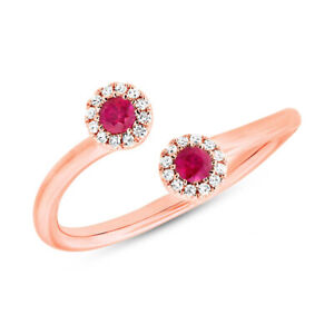 0.27 TCW 14K Rose Gold Natural Round Ruby Diamond 2 Stone Wrap Dainty Open Ring