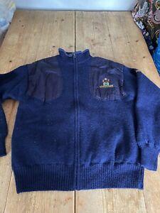 Fabulous BERETTA Diamond K Ranch Branded Pure Wool Blue Full Zip JACKET Cardigan