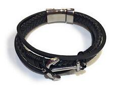 Anchor Nautical Bracelet Men's Black Leather Stainless Steel  Mens Bangle