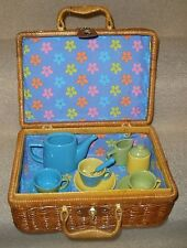 Tea Part Set Wicker Picnic Basket Childs Teapot Cups Creamer Sugar Bowl Ceramic