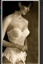 d4bbd29a5c Goddess Vintage Longline Underwire White Lace Bustier Bra Corset Size 34D  NEW