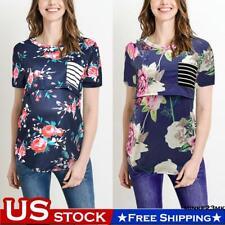 Maternity Women Summer Floral Short Sleeve T-Shirt Nursing Top Pregnancy Clothes