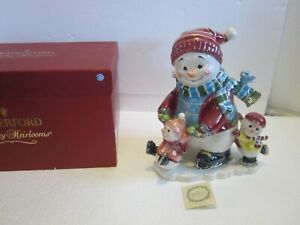 Rare Large WATERFORD Holiday Heirlooms Snowman Snowy Village Musical Cookie Jar