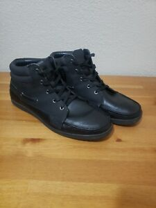 ALDO Men's Sneakers Perforated Leather Black High Tops Shoes Size 10.5 Light Use