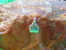 """with crystals 12"""" Plus Size Sterling Silver Dog*Cat Paw Illusion Anklet"""