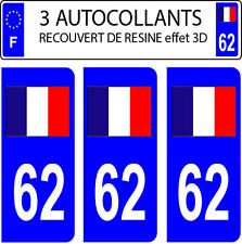 3 sticker car registration plate DOMING 3D RESIN FRENCH FLAG No. 62