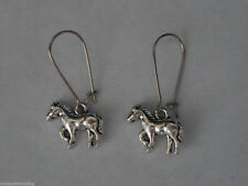 BRAND NEW * SILVER TONE HORSE PONY EARRINGS IN PRETTY ORGANZA GIFT BAG