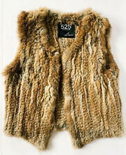525 America Lux Brown Rabbit Fur Open Front Vest Size Small Bloomingdales