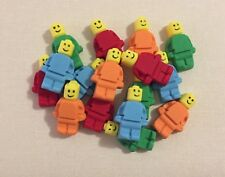 12 Edible Construction Men CUPCAKE TOPPERS Birthday Cake Decoration LEGO COLOURS
