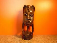 Vintage African Hard Wood Carving Of A Female Bust