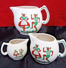 Set of 3 Vintage Pitchers Made in Czechoslovakia, Folk Dancers, Red and Green