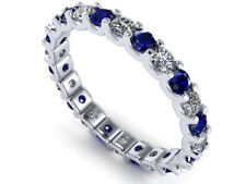 Natural 2ct Round Sapphire Diamond Eternity Band Ring 14K White Gold AAA GH SI2