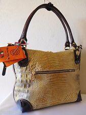 MARINO ORLANDI Italian Croco Embossed Metallic Leather Tote, Satchel, Handbag!