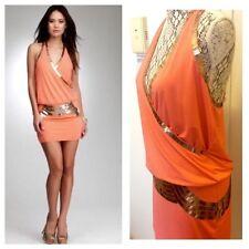 NWT bebe coral gold sequin wrap deep v neck armor raceback top dress S small