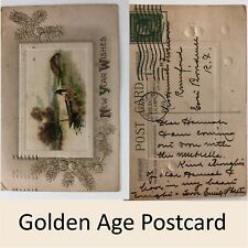 New Year Wishes Embossed Postcard 1 Cent Franklin Stamp 1910 Divided Back