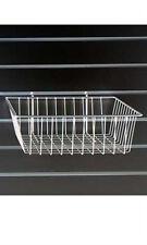 "2 Piece White Mini Grid Wire Basket for Slatwall dimensions 12"" L x 12"" W x 4"" D"