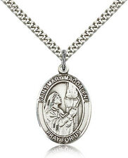 """Saint Mary Magdalene Medal For Men - .925 Sterling Silver Necklace On 24"""" Cha..."""