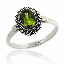 925 Silver Peridot Oval Solitaire Twist Border RingSize 8
