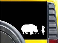 Girl Walking a Hippo Sticker k623 8 inch decal