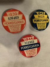 1939 1943 1944 Pennsylvania Resident Fishing License buttons Vintage