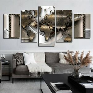 Modern Wall Canvas World Map Painting Wall Decoration  Living Room Office Home