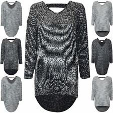 Womens Oversized Lagenlook Baggy Hi Lo Marl Knitted Keyhole Cut Back Jumper Top