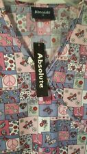 ABSOLUTE Pink/purple BREAST CANCER RIBBONS & Butterfly SCRUB TOP SIZE M