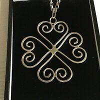 Vintage Sterling Silver Hearts Swirl Pendant Necklace Chain Hallmark London 1975