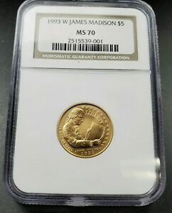 1993 W $5 NGC MS70 James Madison Mint State Gold commemorative coin