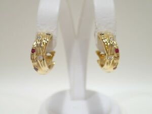 CARTIER 18k yellow gold Constellation earrings with ruby, sapphire & diamond
