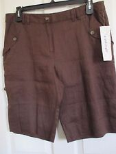 NWT - e-col-o-gie ECOLOGIE ladies Brown Linen Shorts w/roll-up cuffs - sz 14