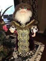 """Mackenzie Childs Courtly Check Standing Santa. Large 28"""""""