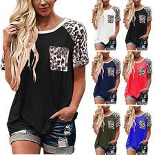 Summer Womens Casual T Shirt Leopard Print Tops Loose Short Sleeve Blouse