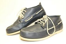 Lands' End Canvas Navy Leather Casual Chukka Short Top Shoes Mens 44.5 11 D