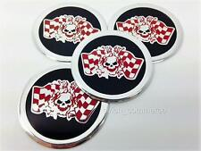 SKULL RACE Wheel Center Caps Stickers Badges Decals UNIVERSAL 60mm Set of 4