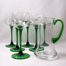 Luminarc Cordial Aperitif green stemmed Glasses set 6 with Carafe/pitcher.