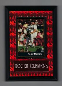 """Vintage 1990s 6.5"""" x 4.5"""" Card Plaque Roger Clemens Boston Red Sox #1"""