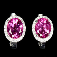 Oval AAA Pink Topaz 9x7mm Cz 14K White Gold Plate 925 Sterling Silver Earrings