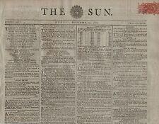 """RARE ORIGINAL NEWSPAPER """"THE SUN""""(22 September 1800) DEATH FOR FORGING RECEIPTS"""
