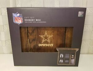"""Picnic Time Official NFL """"Dallas Cowboys"""" 8 oz. Whiskey Glass Gift Set w Box NEW"""
