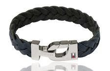 Tommy Hilfiger Herren Armband 2700873 Armreif Edelstahl Silber Leder Blau
