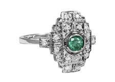 Art Deco Ring Smaragd und Diamanten RG 58